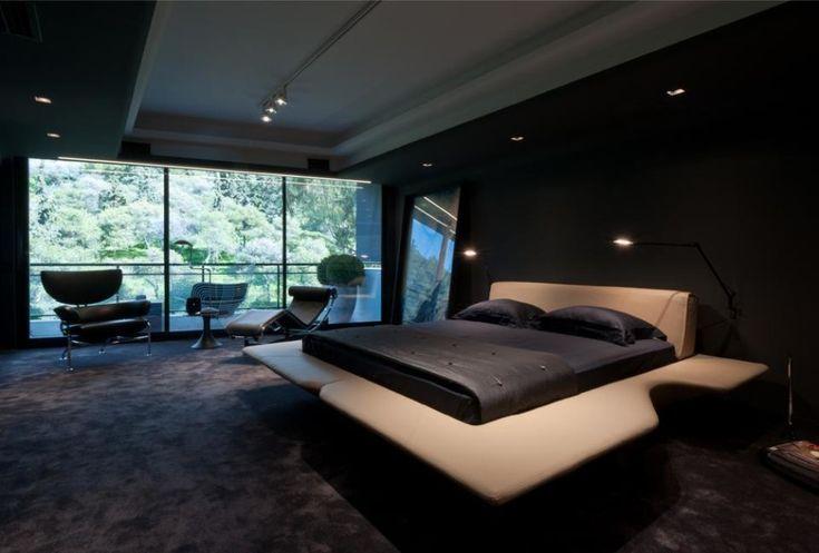Black carpet in the bedroom