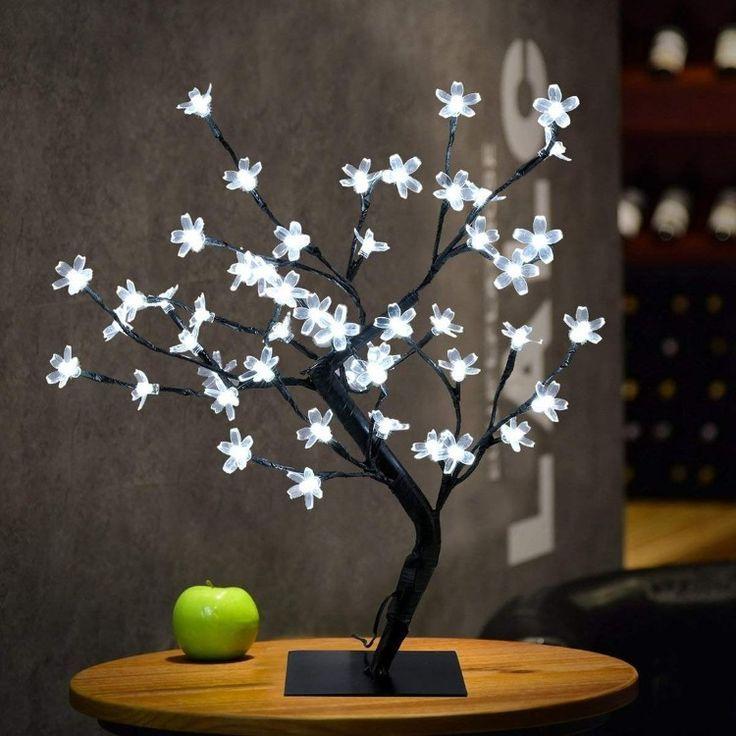 Cherry Blossom Tabletop Bonsai Tree Light In 2020 Tree Lamp Fairy Lights Cherry Blossom Tree