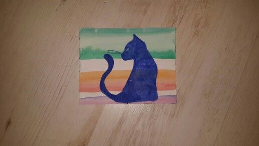 Watercolour cat painting