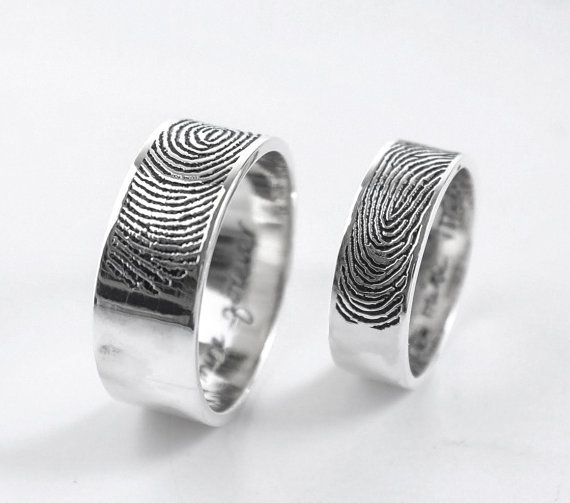 Personalized Fingerprint Rings Actual By Venussilver On Etsy