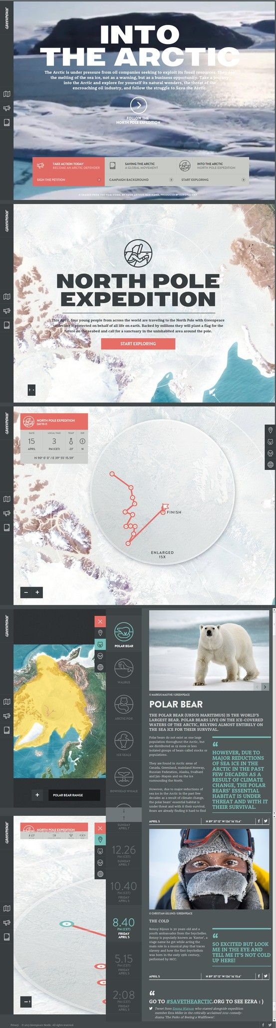 Into the Arctic - Greenpeace 23 April 2013 http://www.awwwards.com/web-design-awards/into-the-arctic-greenpeace-1 #webdesign #inspiration #UI #CSS3 #Animation #HTML5 #Design  #webdesign #inspiration #UI #CSS3 #Animation #HTML5 #Design