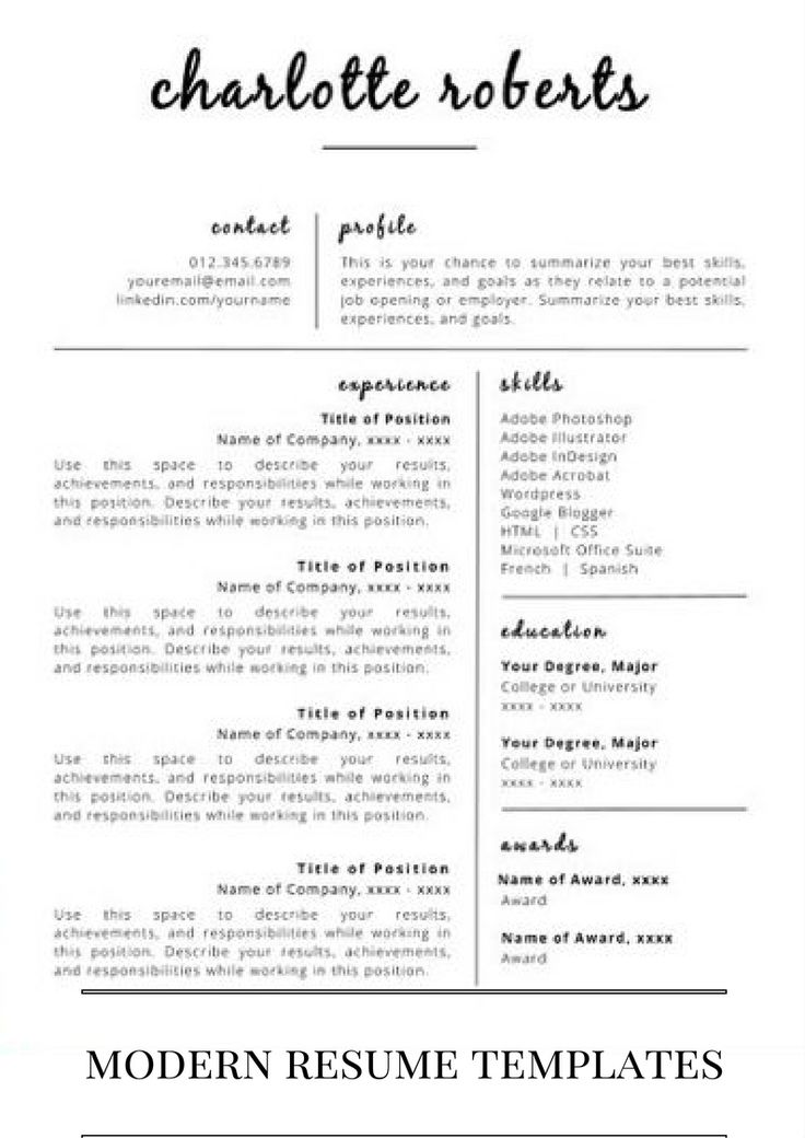 modern resume templates for you.