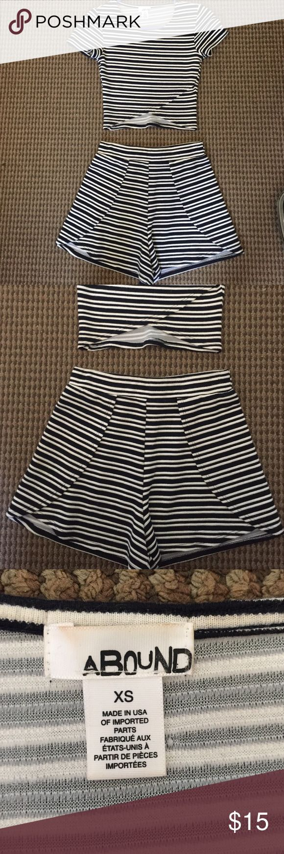 Navy and white striped two piece set!! Only worn once, perfect condition!! Really love this set!! Purchased from Nordstrom rack! TOP IS XS but the tag somehow fell off the bottoms but the bottoms are size M!!! I'm usually an XS or S and the bottoms fit me perfectly!! The bottoms also have elastic waistband!! Nordstrom Other