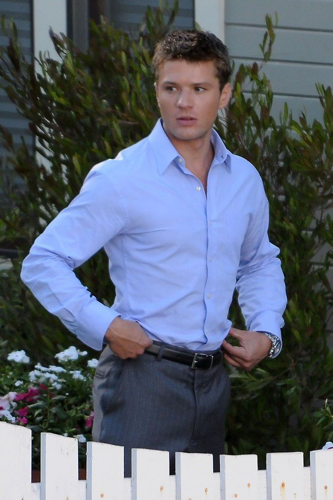 Matthew mcconaughey 39 s family make a surprise visit to the for Blue dress shirt grey pants