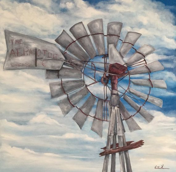 Aermotor Windmill Farm Ranch Rural Country Life Oil Painting