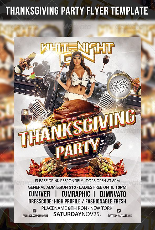 Thanksgiving Party Flyer Template   Fonts, Photos of models and ...