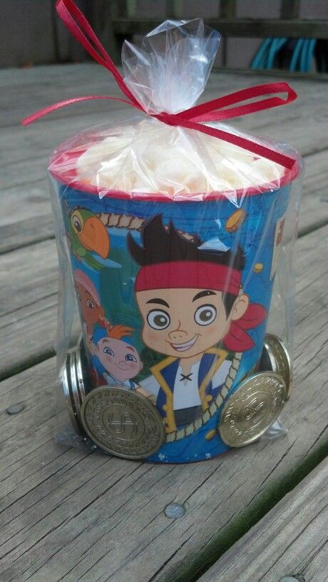 Jake and the Neverland pirates party favors.  99¢ cup from Party City, gold coins from Party City and filled with Pirate's Booty (large bag from Costco)   inexpensive cute take home favor