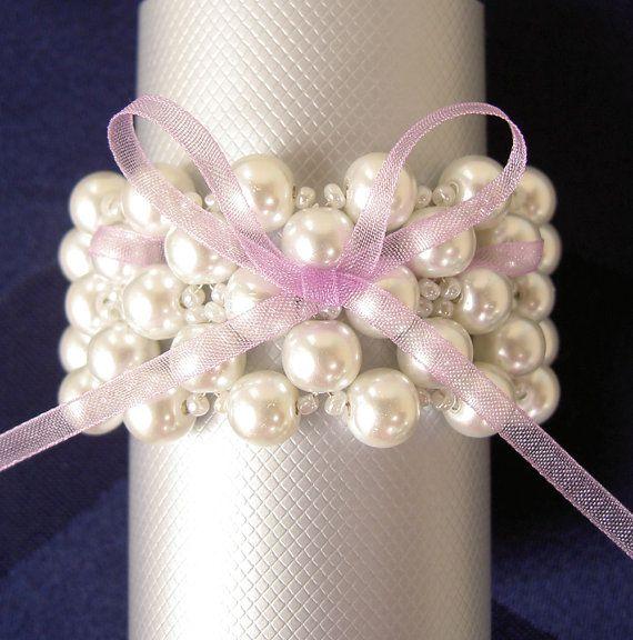 Wedding Napkin Rings  Pearls Napkin Rings  Beaded Napkin by Umis, $18.00