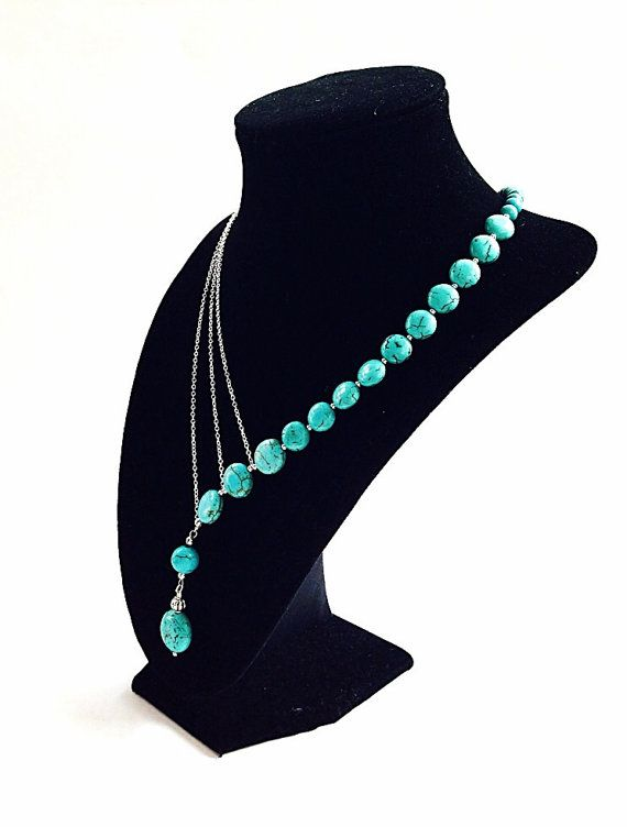 Asymmetrical turquoise necklace with silver chains - statement necklace - beadwork - bib necklace - stone and chain necklace - turquoise on Etsy, $44.00