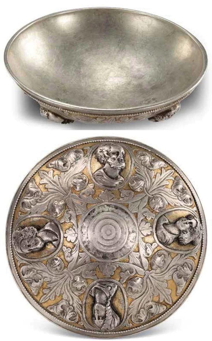 Cuenco de plata con releves de Zeus, Hera, Afrodita y Atenea. De 1500 años (Mongolia Interior)