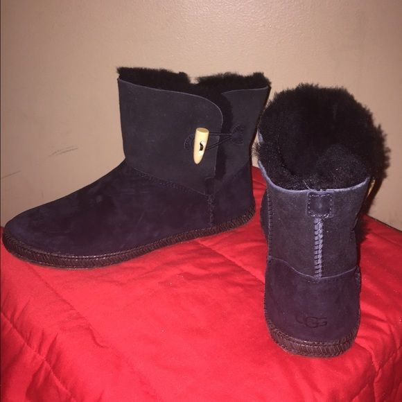 New Never Worn Authentic UGG Black Ankle Boot New. Never worn. Authentic UGG. Great for wearing all year!  Button and hook on the side. Ankle high. NEGOTIABLE! No trade. No lowballs. UGG Shoes Ankle Boots & Booties