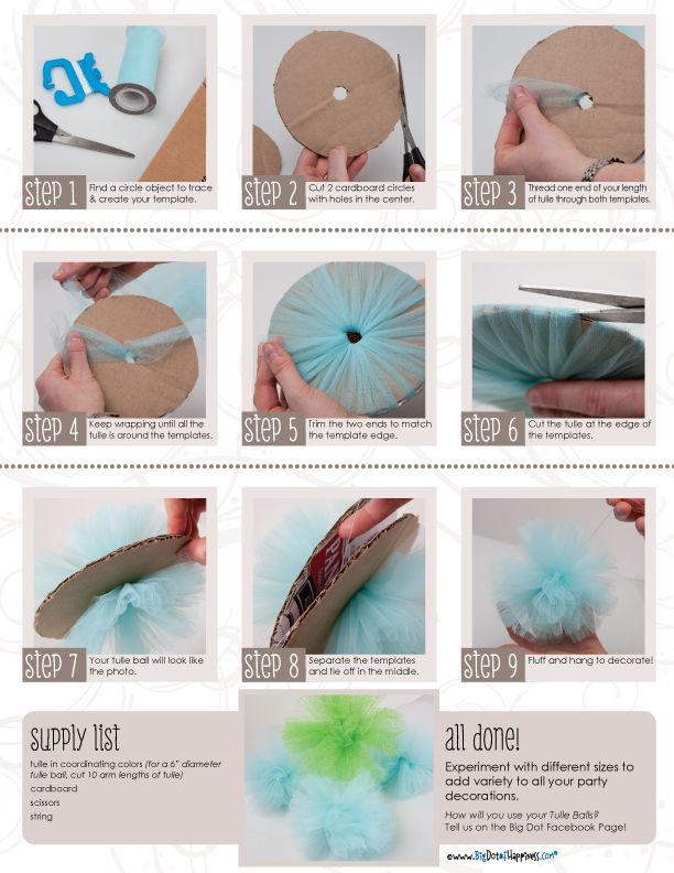 Tulle Pom Pom's  DIY.  Make a garland as well.