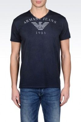 Camiseta Armani Jeans Men's Vintage Effect Printed Cotton T-Shirt Dark Blue #Camiseta #Armani Jeans