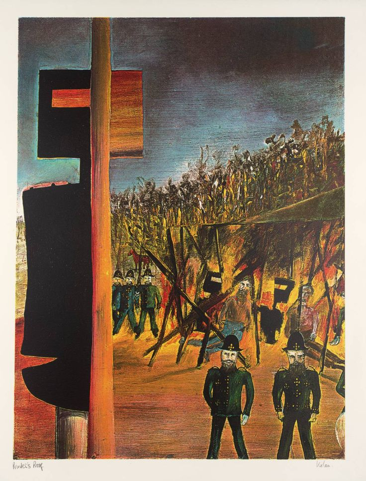 Sidney Nolan ~ 13. Burning at Glenrowan, from Ned Kelly series, 1970-71 (screenprint on paper)