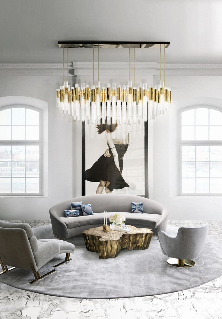 This gray and golden Living room ideas set is pure luxury, don't you think? The Eden coffee table combines with the Waterfall suspension lamp are really breathtaking!
