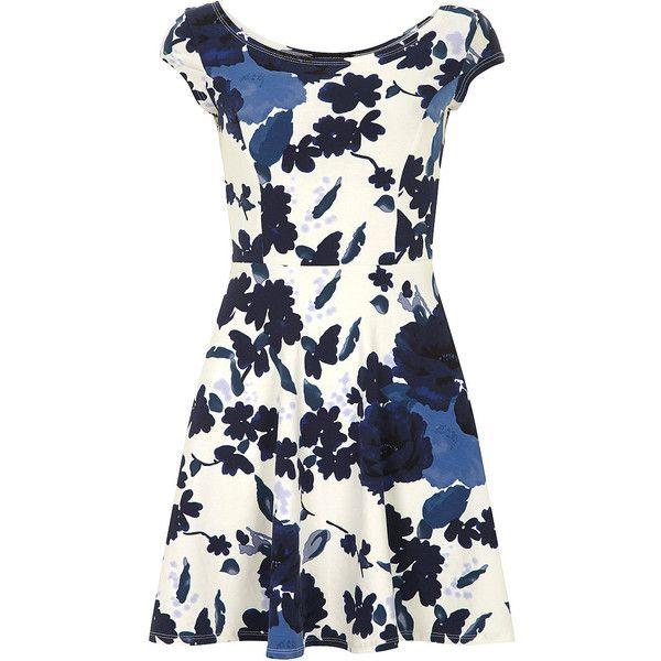 Dorothy Perkins Blue floral bardot dress found on Polyvore