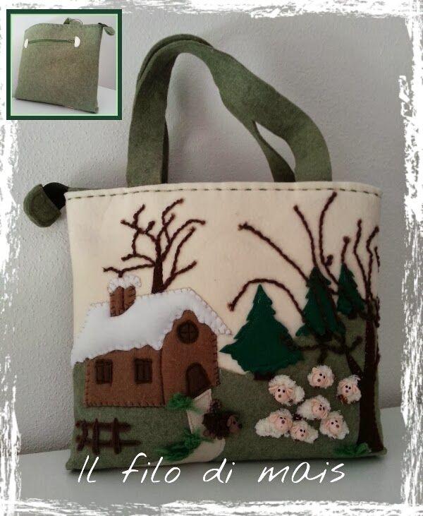 Borsa in feltro con paesaggio invernale          Mi sono ispirata al noto marchio che realizza borse con applicazioni colorate che rappres...