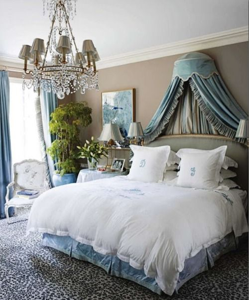 lovely vintage French bedroom..i have these pillows..great personal touch to a beautiful room