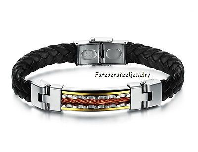 Vogue-Style-Mens-316L-Stainless-Steel-Leather-Bangle-Bracelet-Jewelry