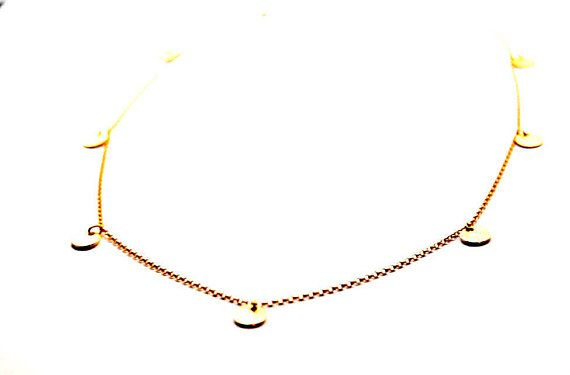 Gold drop coin necklace 14Kt Gold Chain necklace Gold disc