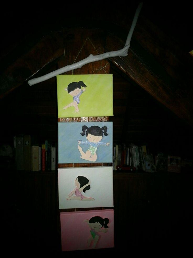 Conjunto de quatro telas personalizadas com o tema da ginástica artística