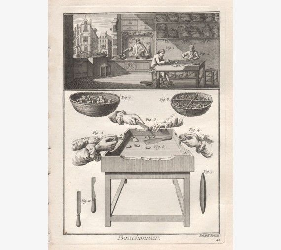 bouchonnier cork maker diderot encyclopedie engraving