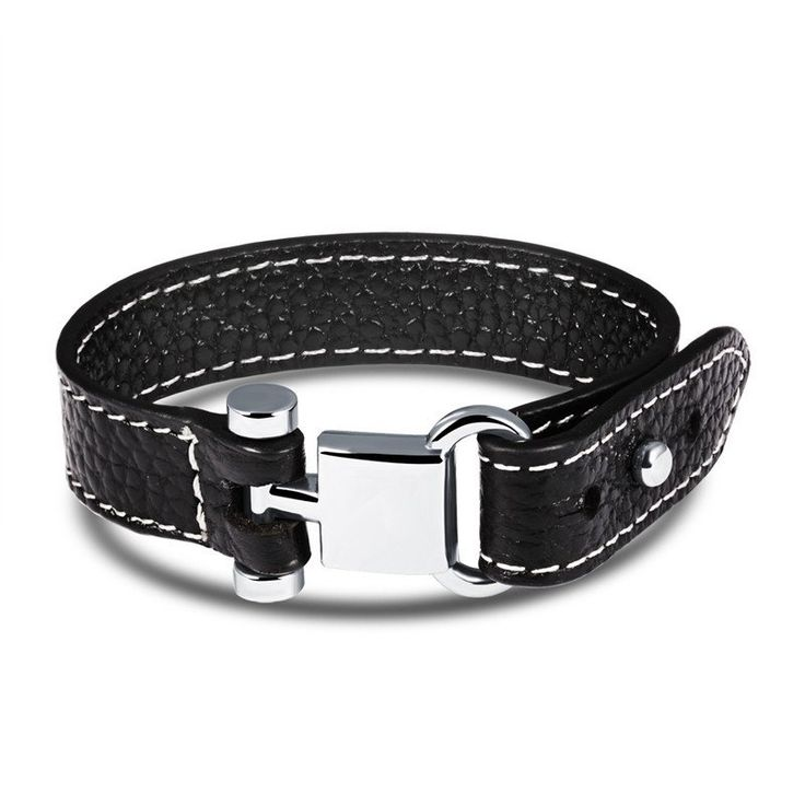 Rock Punk Style Black Leather Bracelet With Stainless Steel Buckle