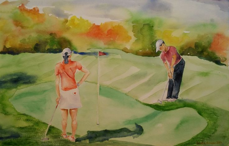 Buy Let's play Golf, Watercolor by Geeta Biswas on Artfinder. #golf #golfart #golfers #ladygolfer #golfgreen #watercolor #chipping #golfcourse #golfgame #golfsport