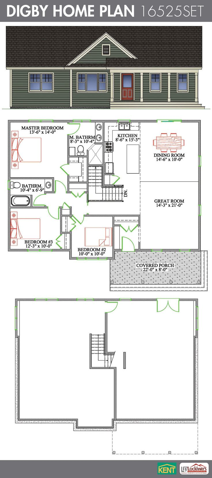 Digby 3 Bedroom 2 Bathroom Home Plan Features Open Concept Great Room Dining Room Kitchen
