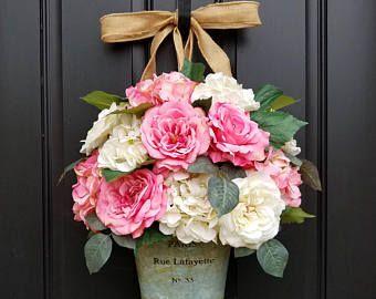 Rosa Rose Bouquet, hortensias rosas, primavera ramo, Bouquet día de la madre, rosas de verano, Francés inspirado Bouquet, cubo de París