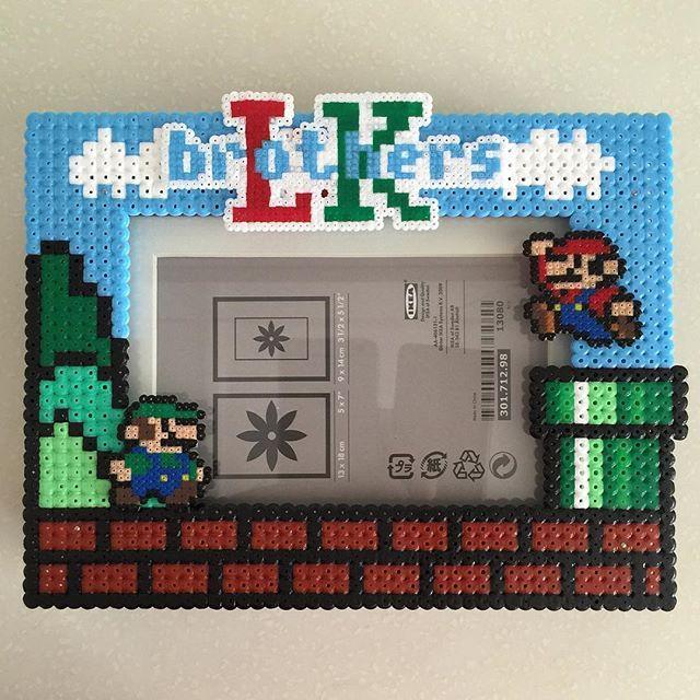 Custom Super Mario photo frame hama perler beads by ikasuyanto