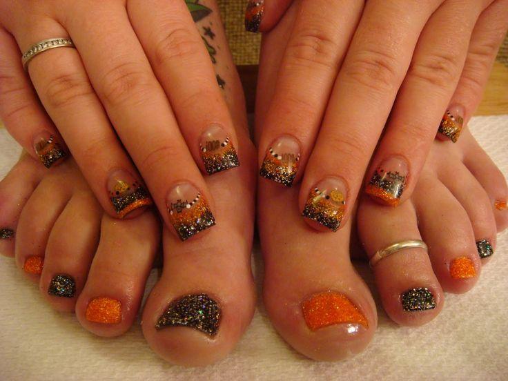 black and orange glitter nails