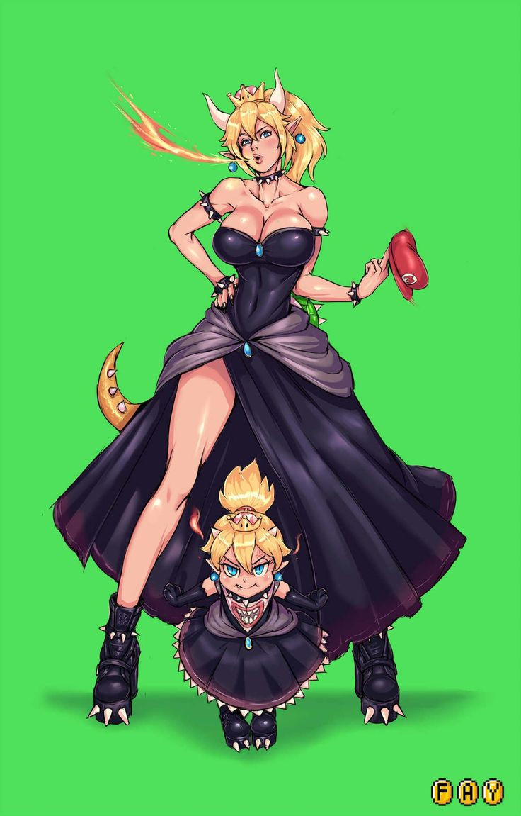 Bowsette And Bowsette Jr  Anime, Video Game Characters -1680