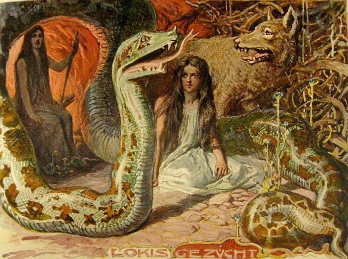 Loki's Children: Fenrir, the Wolf; Jormungand, The World Serpent; Hel: Goddess of the Underworld. And Angrboða, their mother.
