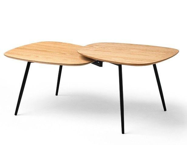 Table Basse Ovale Chene Clair Et Pieds Metal Noir Cristie Table