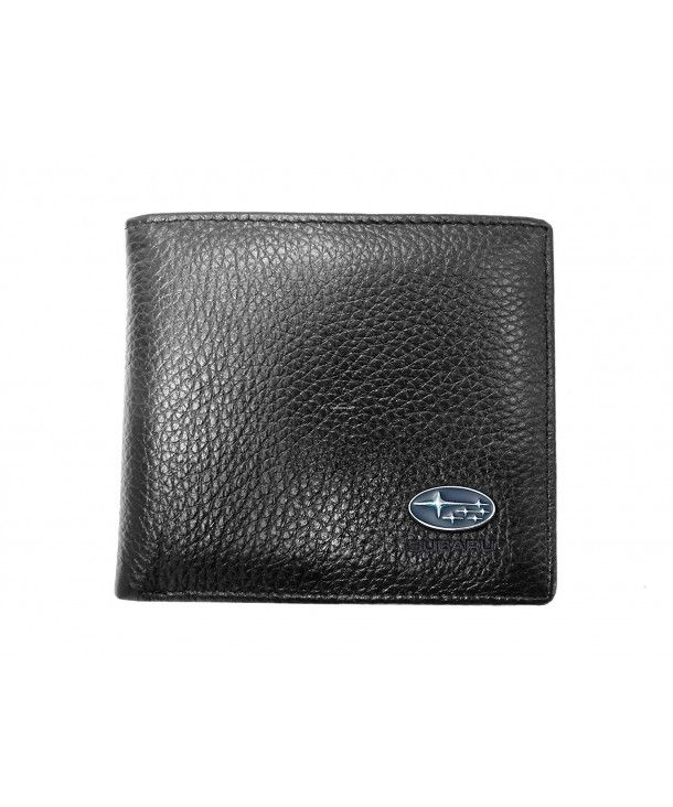 New Genuine Leather Black Men/'s Trifold Wallet w// Center ID
