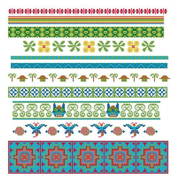 borduur randen patroon. Aziatisch borduurpatroon randjes. Batik geinspireerde borduurrand patroon downloaden. Borduurrand patroon Indonesië.
