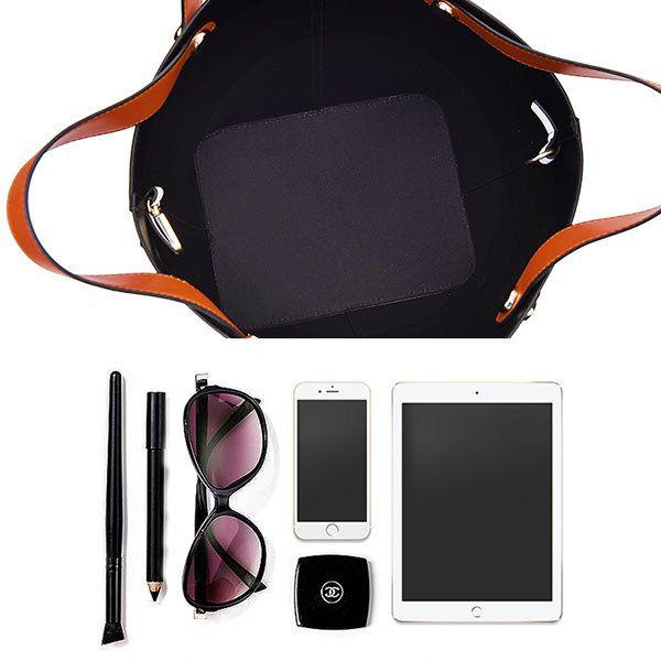 Women Contrast Color PU Leather Bucket Bag Handbag #men #women  #bags #fashion