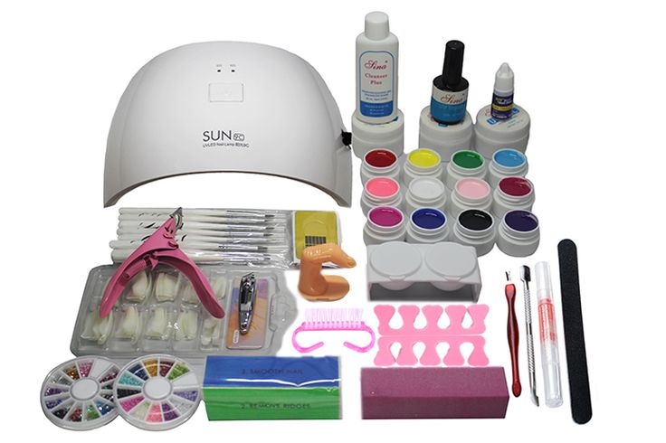 Hot Sale 24w uv Nail lamp manicure set Nail Art UV Gel Kits sets Tools Brush Tips Glue Acrylic Powder Set #N309