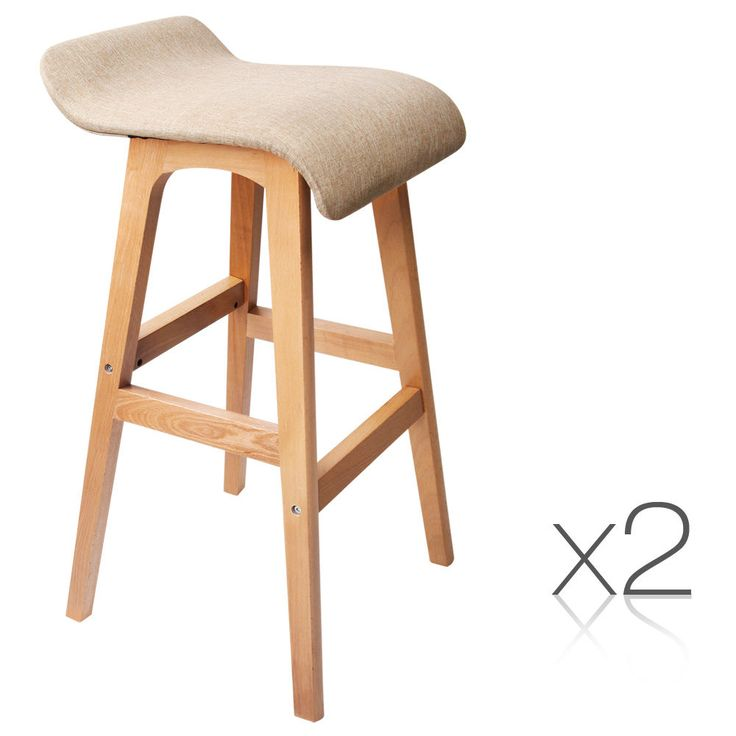 2 x Beech Wood Fabric Bar Stools Taupe Kitchen Dining Elegant Seat Chair Stool  #chair #bar #barstool #diningchair #dining