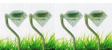LED Solarleuchte Edelstahl Diamant Design Höhe 32 cm 4 Stück Set