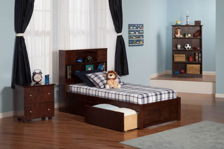 Newport Bookcase Bed | Flat Footboard | Urban Drawers in Antique Walnut by Atlantic
