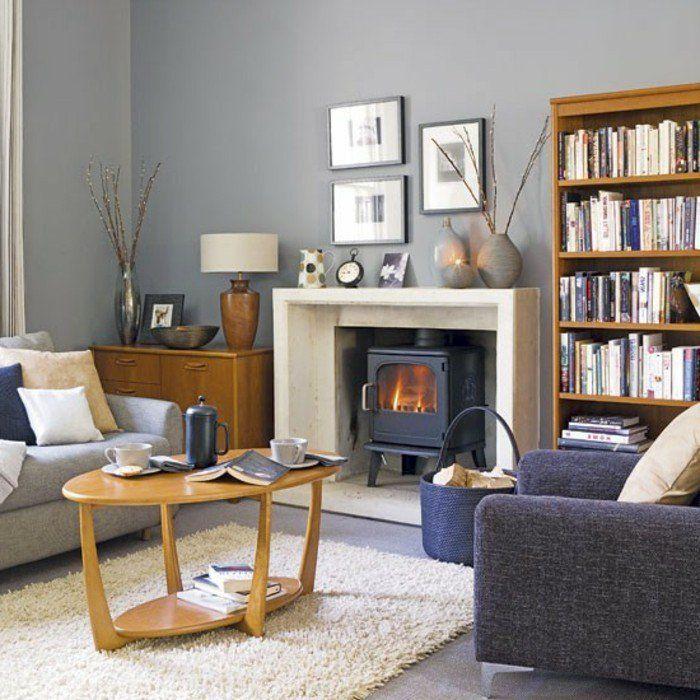 ide dco salon trosp style couleur peinture salon gris perle chemine romantique table