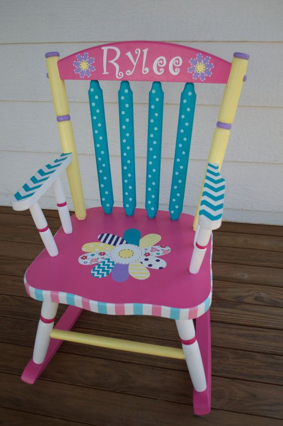 Hand Painted Whimsical Personalized Child Rocking Chair von hughese