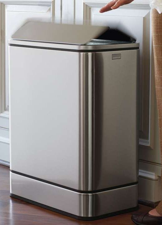 Great Simplehuman Butterfly Sensor Trash Can   Frontgate Contemporary Kitchen  Trash Cans