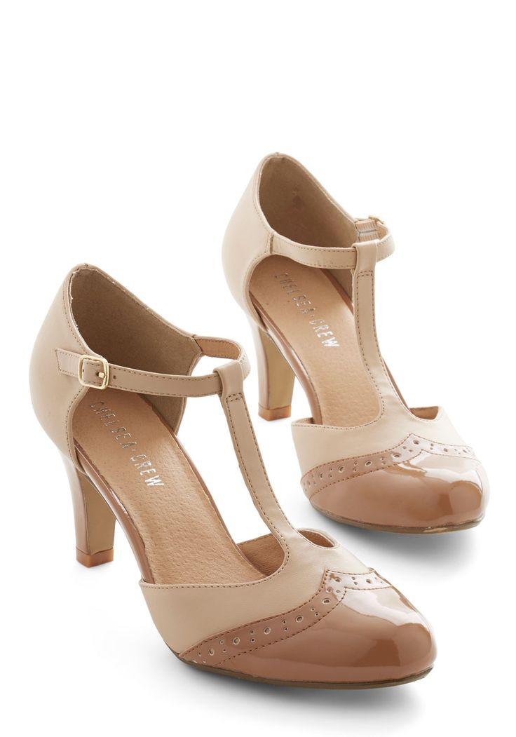 Definition of Distinct Heel in Tan. Combine your stylish know-how with the 40s-inspired panache of these two-toned heels by Chelsea Crew, and youre guaranteed an outstanding look! #tan #wedding #modcloth