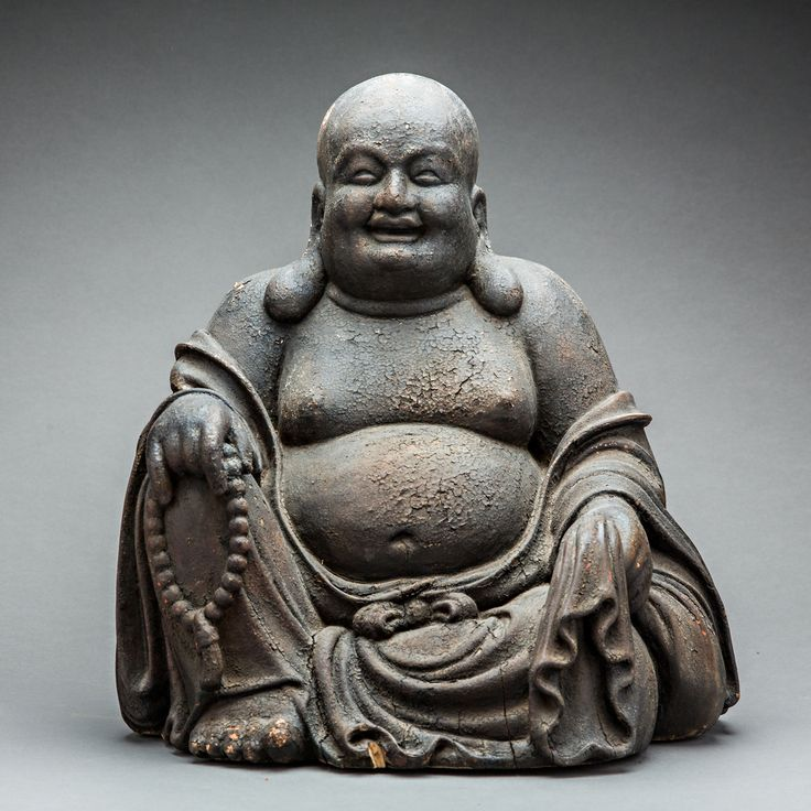 Ming Wooden Sculpture Of The Laughing Buddha Barakat
