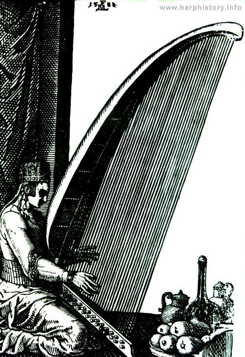 Female harpist with an enormous angular harp from Constantinople. Woodcut by Melchior Lorich (1558)