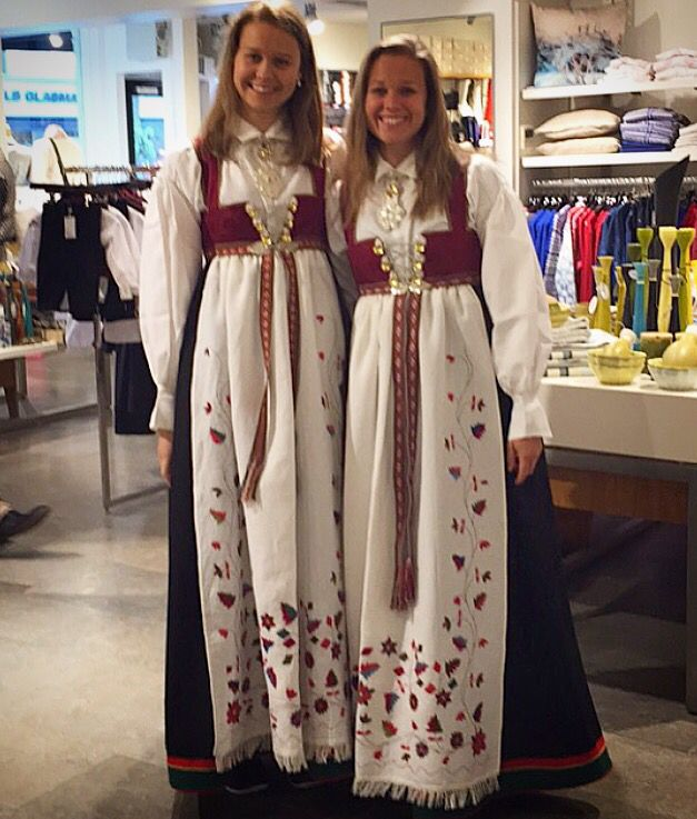 My sister and I, with out Norwegian traditional costumes (bunad) from Åmli in Aust Agder