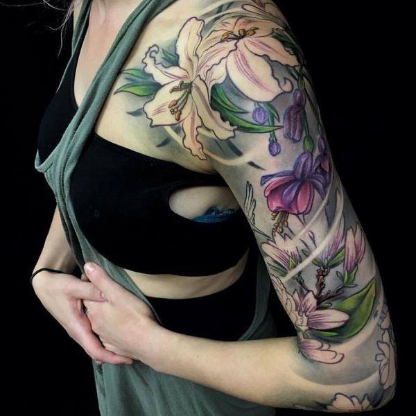 lily flowers tattoo 9 - 60 Beautiful Lily Tattoo Ideas
